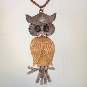 Large Silver-tone & Gold-tone Owl Pendant